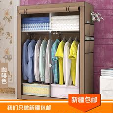 Xinjiang package closet cloth simple cloth wardrobe assembly wardrobe steel tube reinforcement bold large double