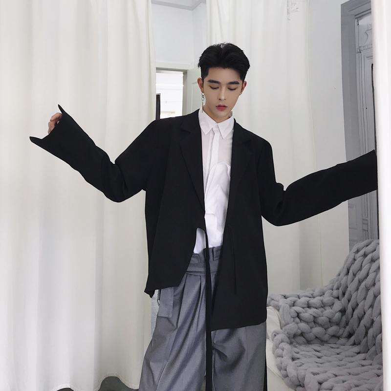 夜店潮流简约休闲西服男个性系带不对称纯色雪纺小西装发型师男装