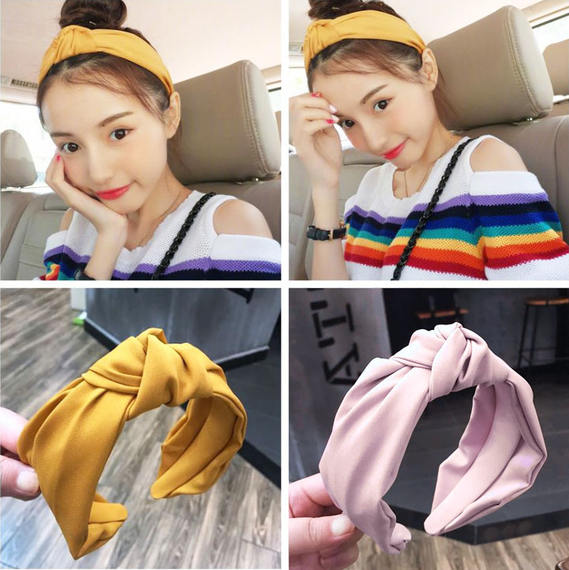 Fresh air headband yellow headband solid color retro fabric wide side pressure headband middle knotted hairpin hair band tide