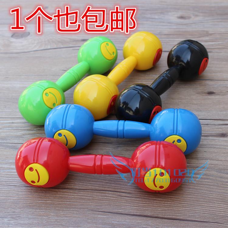 大号塑料哑铃奥尔夫儿童健身玩具幼儿园体操排练笑脸哑铃沙锤