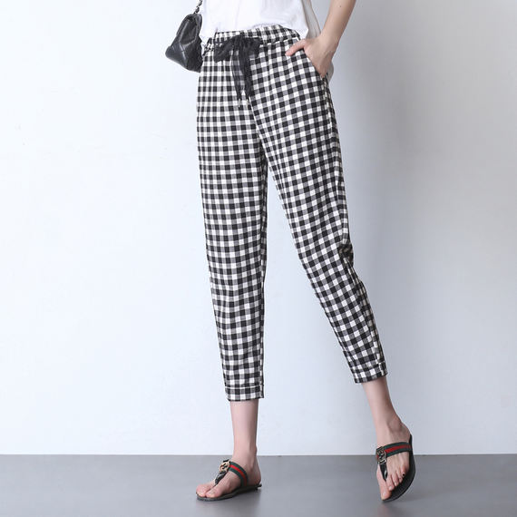 European station summer thin section black and white plaid harem pants female nine pants high waist small feet carrot pants plaid casual pants