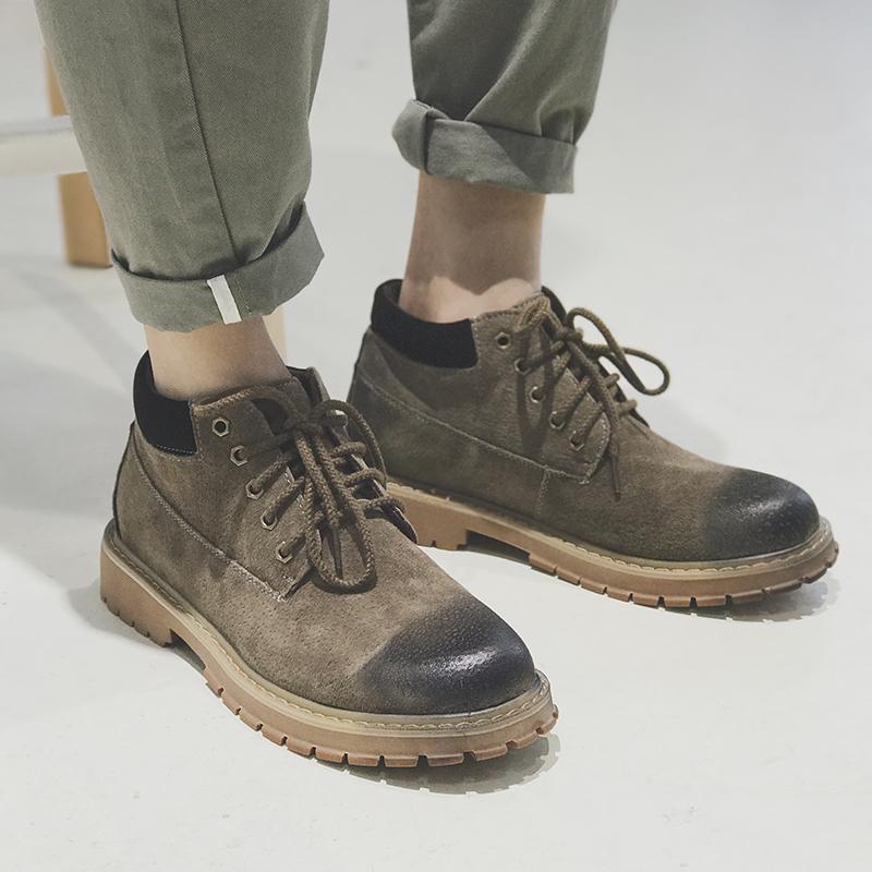 GBOY冬季鞋子英伦男士休闲皮鞋日系潮流复古男鞋青年圆头马丁鞋