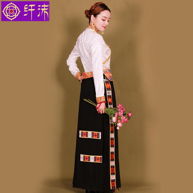 原創裹裙藏裝女半身裙長款臧裙西藏服藏袍不丹裙鍋莊裙民族風藏服