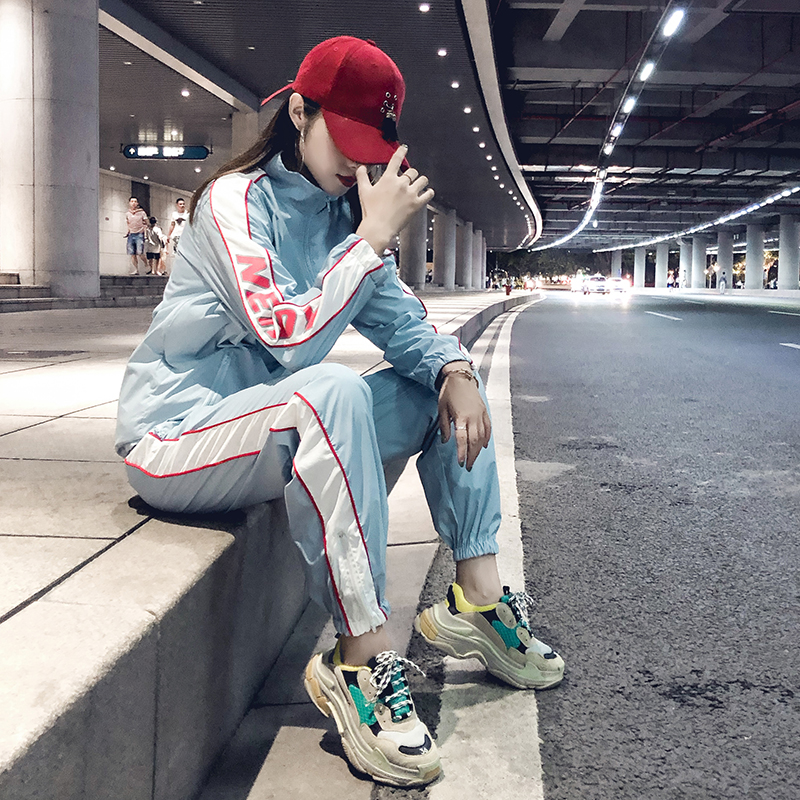 郑素敏同款韩国chic男女运动服拼接百搭休闲长袖外套宽松套装长裤