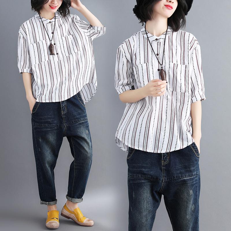 春夏新文艺大码女装半袖T恤衫宽松显瘦拼色竖条纹POLO领短袖上衣