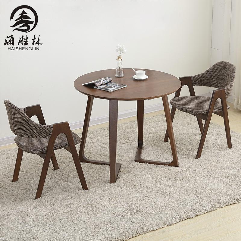 北欧实木家具全橡木餐桌洽谈桌圆桌茶几桌子多人会议简约咖啡桌