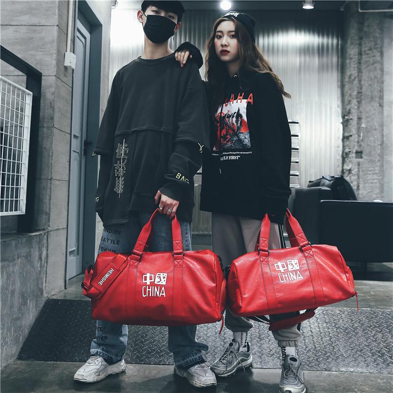 2019新款时尚字母PU皮短途轻便出差旅行包鞋位休闲运动健身行李袋