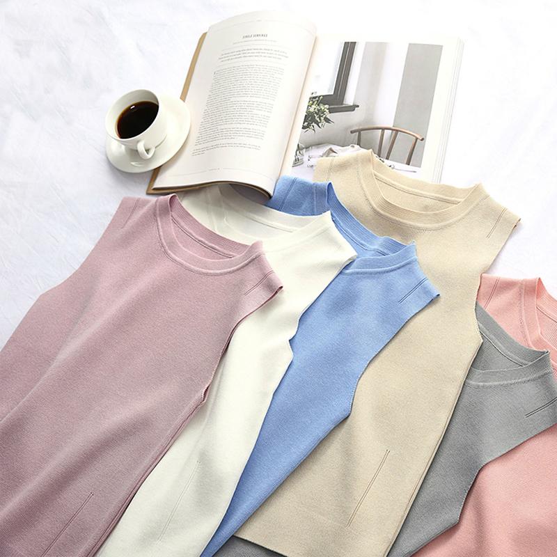 包邮2019夏季薄套头内搭圆领短款无袖针织背心针织衫紧身打底衫女