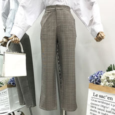 I@03 autumn slim slimming plaid trousers Korean version of the new temperament wild casual pants women
