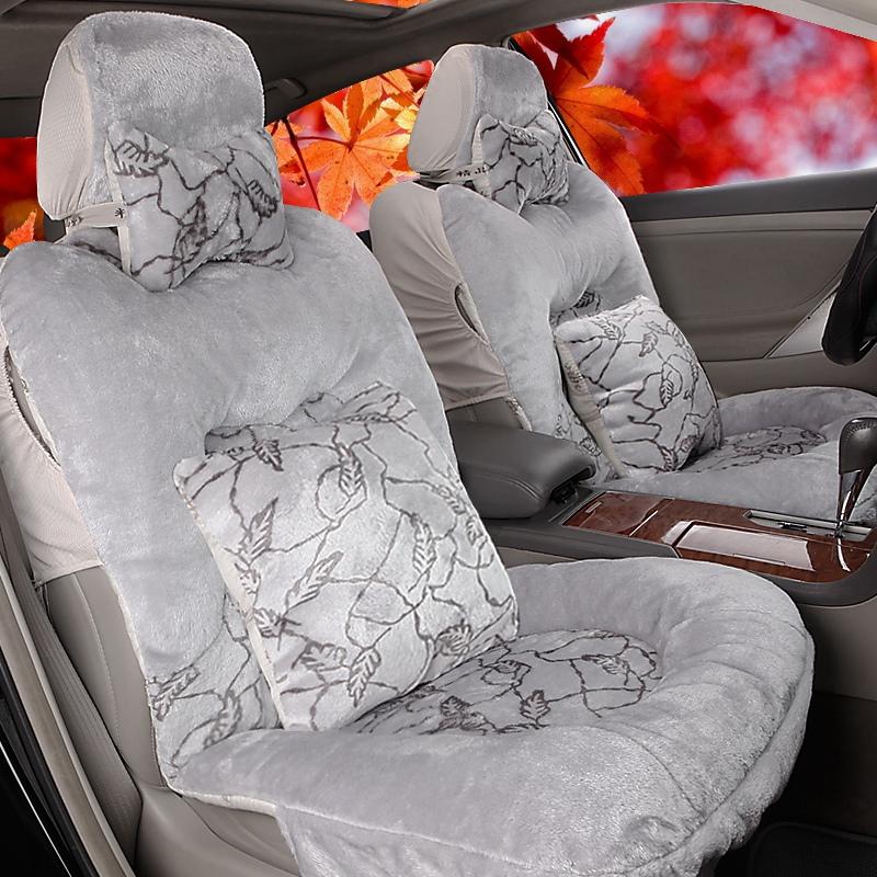 2018年新款羽绒五个座位椅垫前后排全包毛绒专用汽车坐垫高档座套