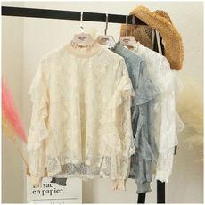 Taotao clothes Autumn wild lace collar long sleeve hook flower lace shirt female 35548