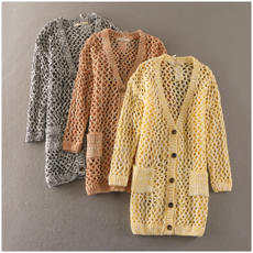 Special offer Spring loose single-breasted hollow Korean sweater coat female tide 11416