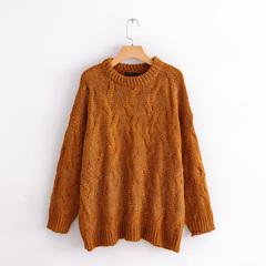 大牌尾货女装流行秋冬季时尚新品圆领麻花编织长袖套头针织毛衣潮