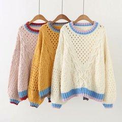 韩版大牌尾货女装流行秋季时尚新品圆领麻花编织镂空长袖针织毛衣