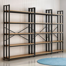 Steel wood bookshelf floor simple multi-layer shelf rack simple storage storage shelf space display stand