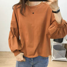 Loose lazy Fan solid color set of lanterns sleeve sweater women's autumn Korean version of the wild thin round neck long-sleeved shirt tide
