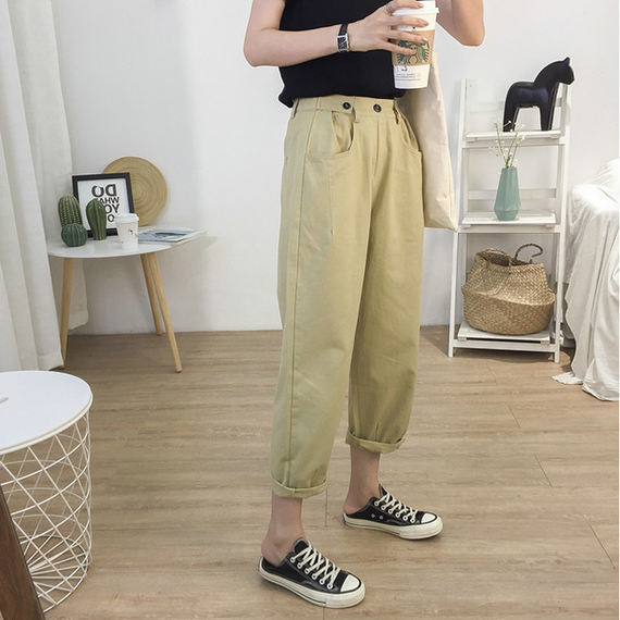 Trendy handsome overalls! Loose slim nine points harem pants female wild casual straight pants large size carrot pants