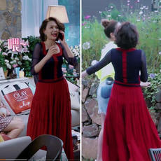 Cheng Lisha's wife's romantic travel with red temperament dress autumn stitching high waist slimming long skirt