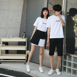 不一样的情侣装夏装2019新款ins超火小众设计感短袖T恤连衣裙子潮