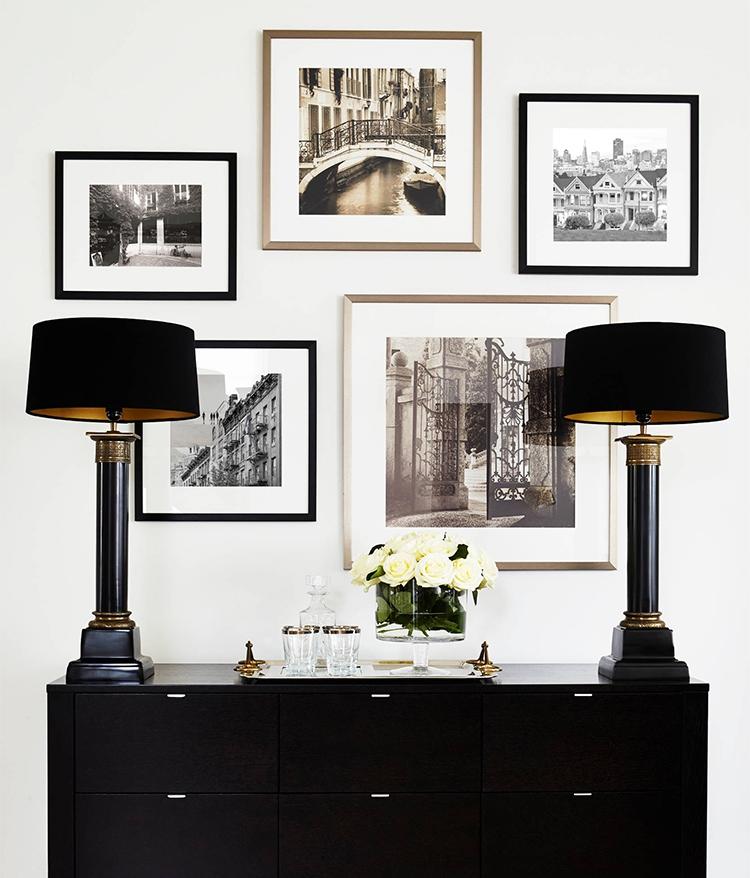 黑白城市风景现代摄影照片 咖啡厅餐馆组合挂画 新古典室内装饰画