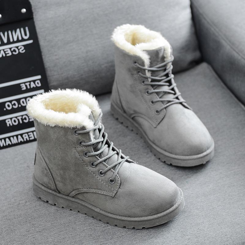 雪地靴女冬中筒靴皮毛一体女短靴子磨砂粗跟防滑厚底大码棉鞋