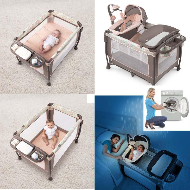 美国婴儿床可折叠游戏床便携式bb床多功能宝宝床摇篮床拼接大床