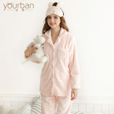 Excellent version autumn and winter months clothes thickened flannel postpartum feeding clothes large size pregnant women pajamas set breastfeeding clothes winter