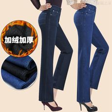 2019 spring and autumn new middle-aged jeans pants plus velvet thick large size high waist straight stretch mother pants