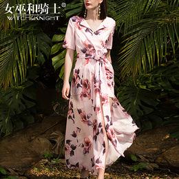 2018夏装新款欧美高端时尚走秀款修身印花短袖V领大摆长款连衣裙