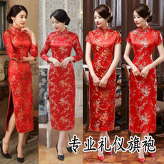 Brocade brocade plum long-sleeved long cheongsam spring and autumn etiquette cheongsam red cheongsam dress catwalk cheongsam spot