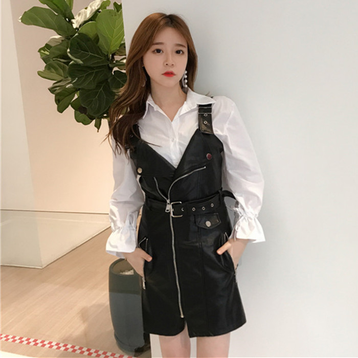 2017秋冬新款韩版女装时髦重工拉链背带裙显瘦修身PU皮吊带连衣裙