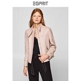 ESPRIT女装冬羊皮革皮衣外套女短款机车修身立领