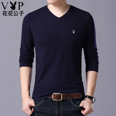 Playboy new sweater men's long-sleeved t-shirt v-neck spring and autumn thin sweater male Korean version of the sweater tide