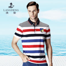Langdon 2018 summer new mercerized cotton short-sleeved T-shirt Men's fashion striped lapel POLO top male and t-shirt