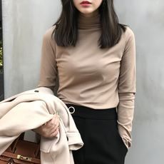 Yuan Xi autumn and winter new solid color half-high collar plus velvet long-sleeved T-shirt female self-cultivation wild bottoming shirt pile collar collar shirt