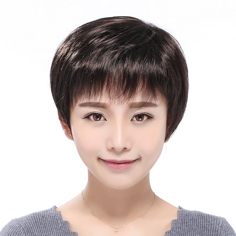 真发假发套女短发妈妈中老年假发短直发中年女士化疗假发真人发丝图片