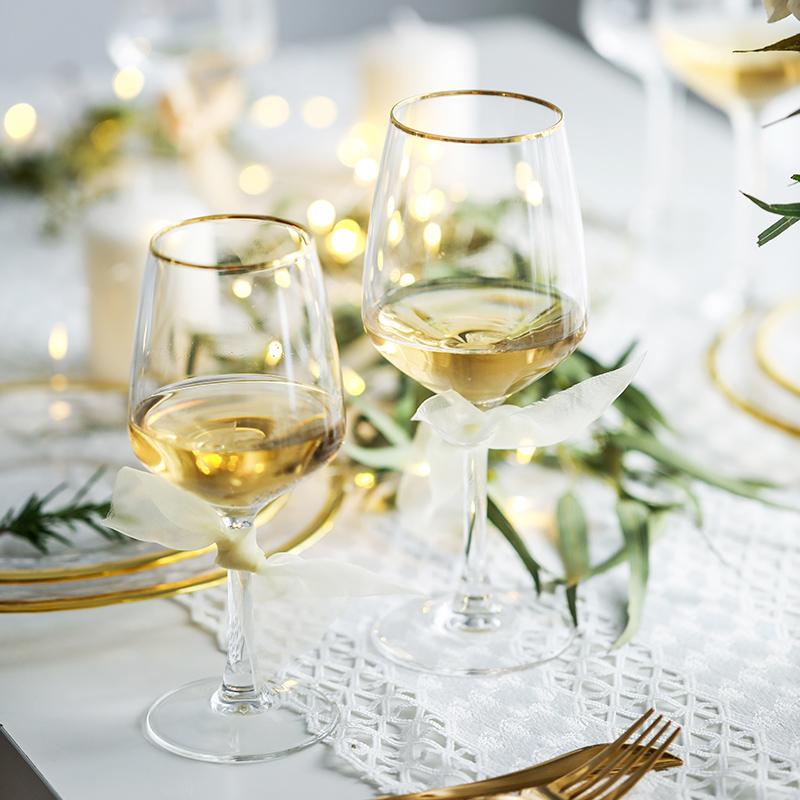 肆月光芒 描金边玻璃红酒杯 欧式套装家用水晶高脚香槟杯创意高档