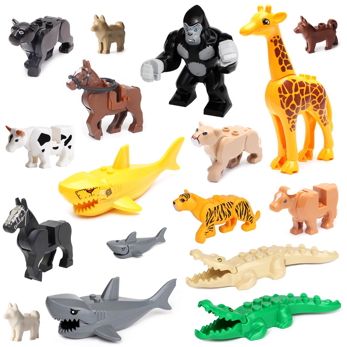 兼容乐高小颗粒益智拼装积木玩具配件 小动物猩猩马狗鲨鱼奶牛豹