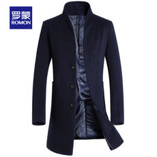 Romon/Romon business men's autumn and winter long wool coat young and new casual woolen coat male