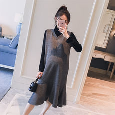 Maternity wear 2018 autumn and winter new Korean version of the V-neck houndstooth fishtail thickening fashion pregnant women vest dress tide