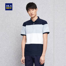 HLA / Haishu home mosaic striped short-sleeved T-shirt 2018 summer new comfortable short-sleeved polo shirt male