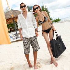 2018 new genuine couple swimsuit sexy bikini three-piece suit beach pants