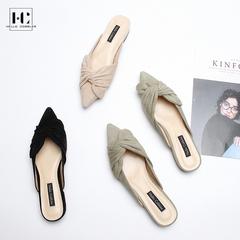 2018夏新款拖鞋仙女鞋子chic凉鞋女平底低跟包头懒人鞋真皮穆勒鞋