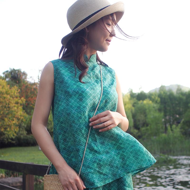 艾绘馆观身原创女装纯麻无袖民族风复古百搭立领中式宽松盘扣衬衣