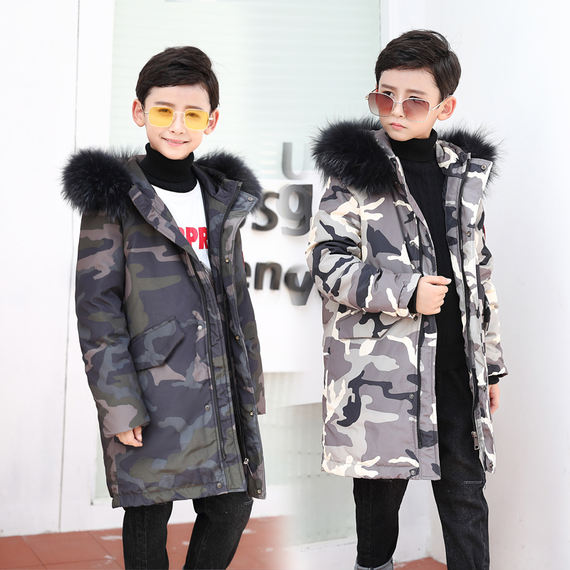 The new anti-season genuine children's down jacket boys in the long section of the big children's clothing thickening girls loose coat clearance