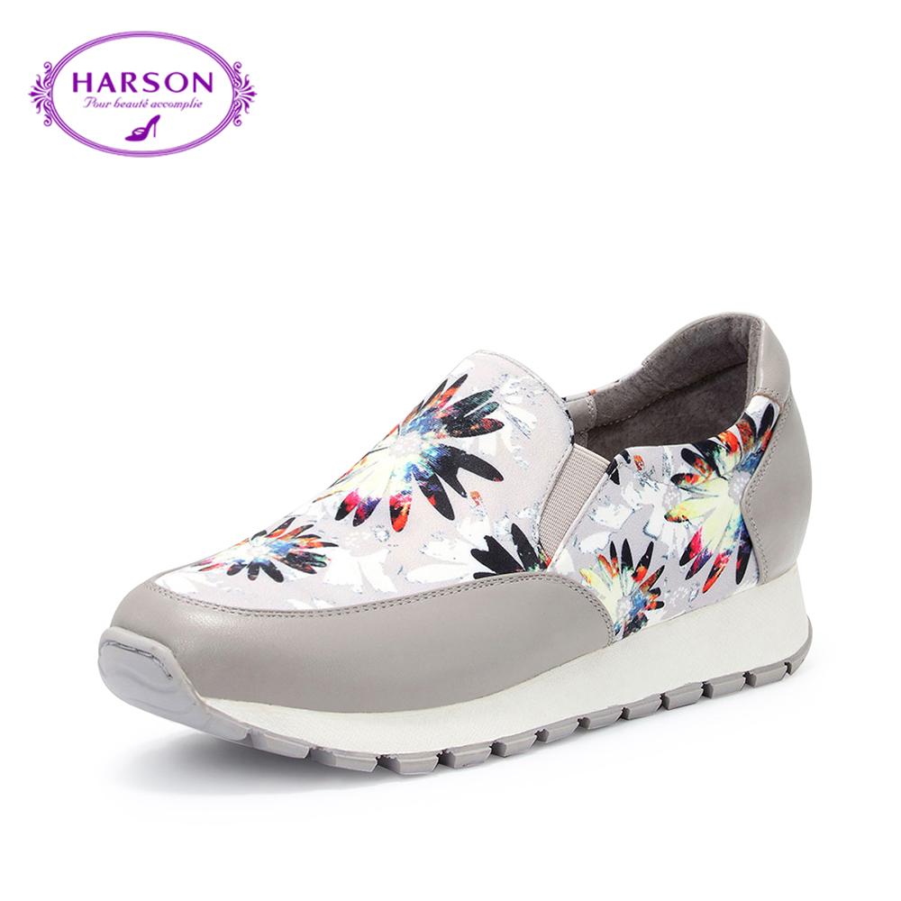 哈森2018春季新款运动休闲鞋女单鞋 牛皮平底小白鞋女百搭hs88202图片