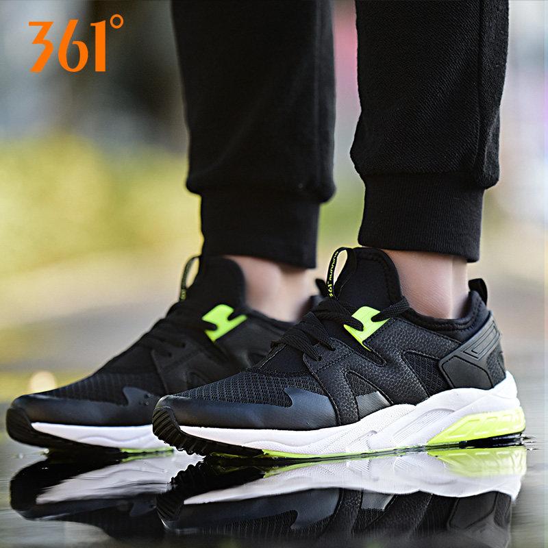 361男鞋秋季新款2017正品运动鞋男防滑纯黑色透气学生跑步鞋名牌