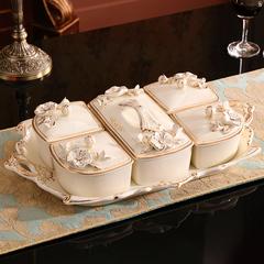 欧式陶瓷干果盒家用客厅水果盘分格带盖零食收纳盒子糖果盒干果盘