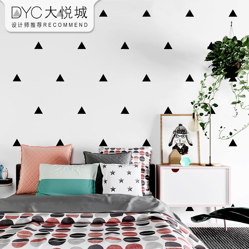北欧风格墙纸 ins现代简约几何黑白格子客厅卧室无纺布背景墙壁纸