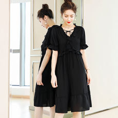 Custom blue language large size women's fat mm new 2018 summer dress fat sister foreign gas ageing slim dress meat